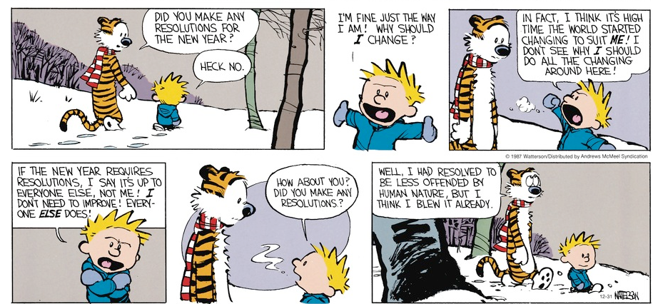 Calvin and Hobbes about New Year resolutions