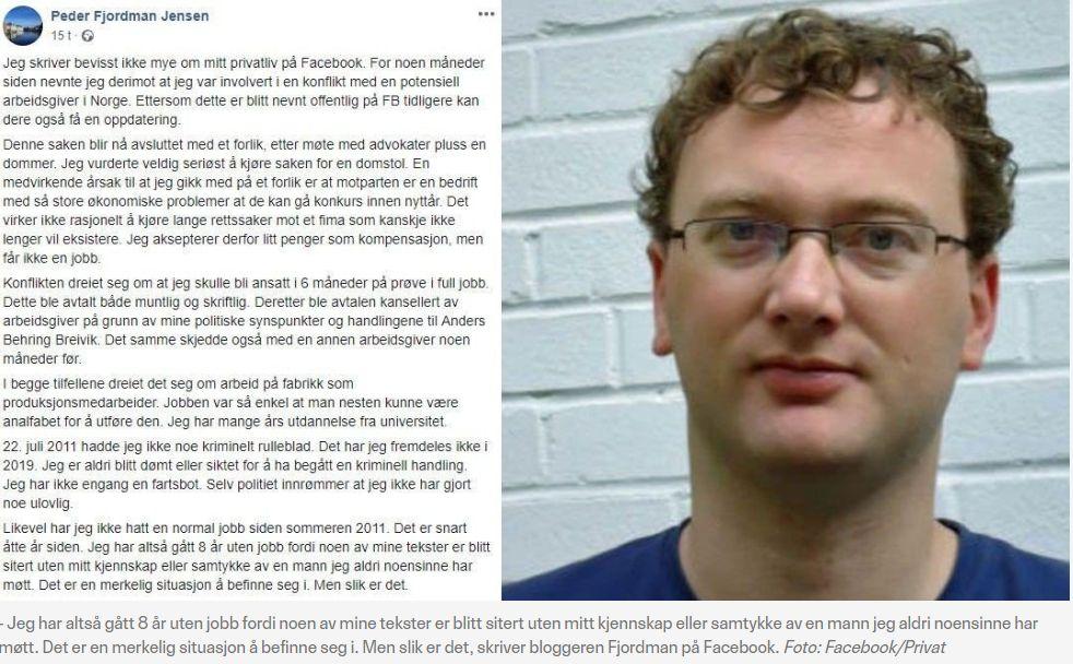 Fjordmanns facebookposting