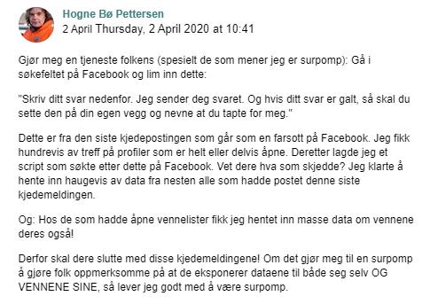 Facebook-posting om kjedebrev