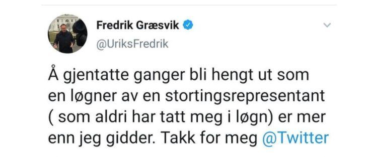 Fredrik Græsvik annonserer at han forlater Twitter